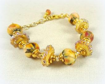 Golden Splendor Lampwork Bead Bracelet - Elegant Golden Yellow Lampwork with Gold Findings - Adjustable Length