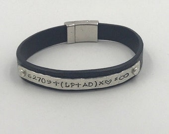 New Item!  Unisex Single Embossed Leather Band with Personalized Sterling Silver Plate | Magnetic Closure | Mens and Womans | Custom
