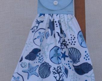 Sea Shell Hanging Towel, Beach Kitchen Decor, Blue Kitchen Towel, Shell Hanging Kitchen Towel, Beach House Decor SnowNoseCrafts