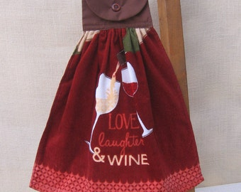 "Wine Kitchen Tea Towel, ""Love Laughter & Wine"", Hanging Dish Towel, Saying Towel, Wine Lover Gift, Brown Kitchen Decor"