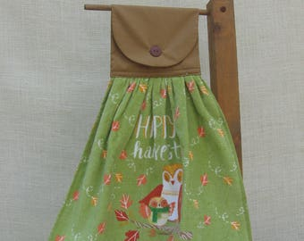 Happy Harvest Hanging Kitchen Hand Towel, Owl Kitchen Towel, Autumn Harvest Towel, Kitchen Linens, Towel for Stove Handle, Dish Towel