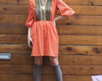 Vintage Boho Hippie Mixed Print Dress