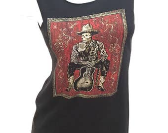Amazing DAY Of The DEAD Cowboy with a Guitar Reshaped T-Shirt / Dress sz. M / L