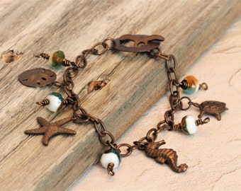 SUMMER BEACH BRACELET in Patina with Sea Creature Charms & Czech Glass Beads in Choice of 3 Colors