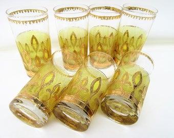 Vintage Culver Glassware   Highball Glasses   Bar Glasses   Fleur de Lis   22 Karat Gold
