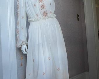 1920's/30's  Vintage Embroidered Gauze Peasant  Dress sm/med