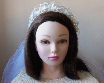 Vintage Pearl Tiara with Veil - Bride, Vintage Glamour, Wedding Accessory, Something Old, Collectible, Gift Idea:  ALEXANDRIA - BBD-118