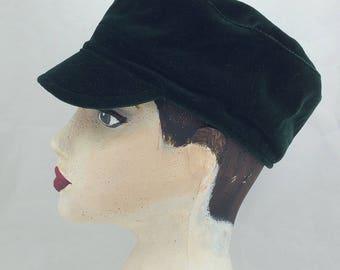 Green velvet cap,Upcycled fabric,newsboy cap,velvet cap,green hat,smart cap,Over to you,cap,cotton velvet