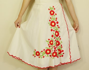 Cream and Red Floral 70s Wrap Midi Skirt. B