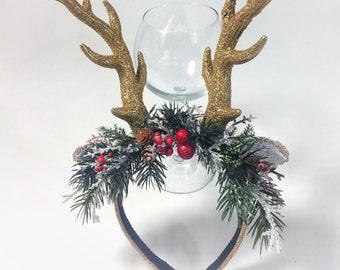 Golden antlers and greenery, red berries, holiday headband, Christmas headband, sitter Christmas headband