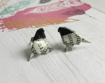 Black Headed Literary Origami Bird Post Earrings