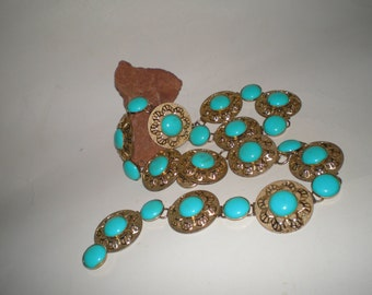 Turquoise Link Belt Mid-Century Goldtone Concho Panel Links With Turquoise Cabochons -Vintage 60's Southwestern Wear
