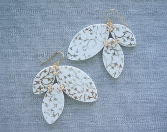 Shimmering Vines Triple Leaf Earrings Broken Recycled China Jewelry Material and Movement