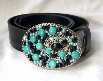 Black and Turquoise Bling Belt Buckle