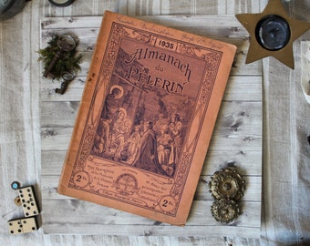 "Antique french religious ""Almanach du pélerin"" catholic book pilgrim's almanach 1935 1930s french country shabby chic illustration"
