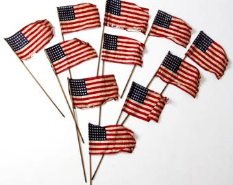 vintage parade flags, collection 11 pc American flags, 48 star stick flags