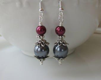 Mulberry Sangria Bridesmaid Earrings,Plum Burgundy Pearls,Bridesmaid Jewelry,Pearl Earrings,Wedding Jewelry,Bridal Party,Grey Gray Pearls