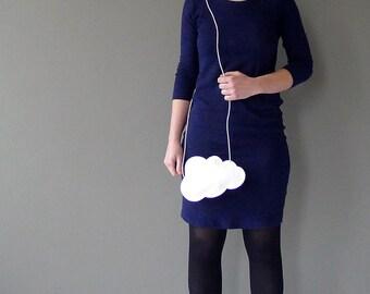 Mini cloud purse - white leather - by Marieke Jacobs