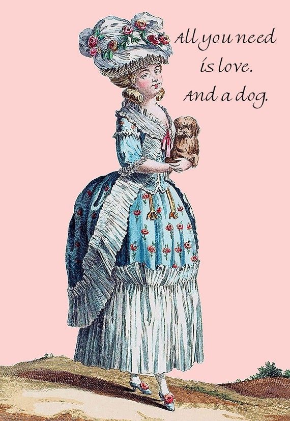 Marie Antoinette. Dog Lover. Love. Dog Postcard. Dog Card. Dog Gifts For Her. Pretty Girl Postcards. Dog Stationery. Dog Lover Gift. Dogs.