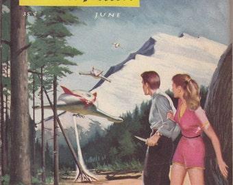 Star Lummox- 1950s Vintage Magazine- Fantasy and Science Fiction- June 1954- Robert Heinlein- Kirberger Cover Art- 50s Sci Fi Paper Ephemera