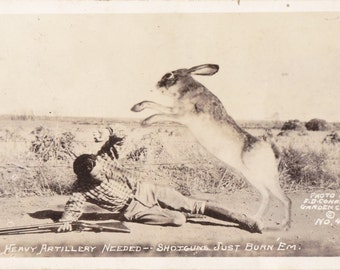 Shotguns Just Burn 'Em- 1940s Vintage Photograph- Giant Rabbit- Exaggeration- F D Conard- Real Photo Postcard- RPPC- Paper Ephemera