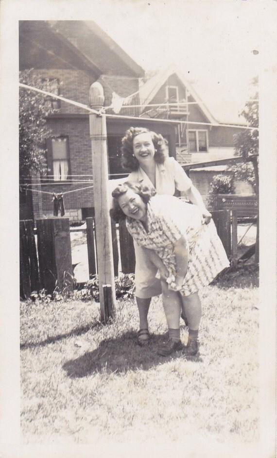 Birthday Spanks- 1940s Vintage Photograph- Best Friends- Tickling Girlfriends- Laughing Women- Found Photo- Funny Snapshot- Paper Ephemera