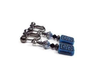 Black and Blue Clip on Earrings Greek Design Drop Dangle Screw Back Czech Glass and Crystal Beaded Gunmetal Plated Fashion Jewelry