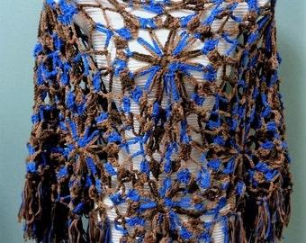 Dainty Tonal Poncho - Intricate Beige Brown Blue Crochet Tassel Poncho -  Fringe Poncho - Tassel Poncho - All Season Poncho - by lanesamarie