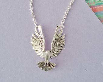 Silver Eagle Necklace, Eagle Charm Necklace, Eagle Jewellery, Eagle Necklace, Eagle Choker, Bird Necklace, Teenager Gift, Eagle Pendant