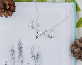 Silver Stag Skull Necklace, Deer Necklace, Stag Jewllery, Stag Charm, Deer Pendant, Stocking Filler, Stag Choker, Teenager Gift