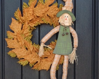 Fall Wreath-Thanksgiving Wreath-Halloween Orange Fall Leaves-Grapevine Door Wreath Decor-Indoor/Outdoor Decoration-Scarecrow-One of a Kind