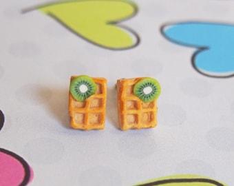 Kiwi Waffle Earrings ( stud waffle earrings mini waffle earrings kiwi earrings miniature waffle  polymer clay jewelry kawaii jewelry)