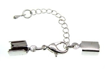 10 Antique Silver Cord Ends with Lobster Clasp & Extender Chain / Ribbon Crimp / Crimp Ends / Fold Over Crimps 00657.J3F