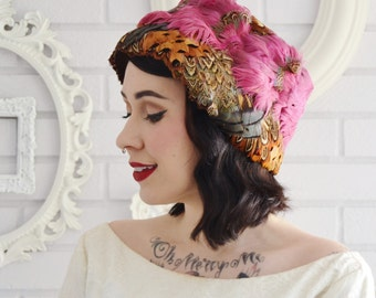 Vintage Pink and Brown Pheasant Feathers on Brown Wool Hat by Glamour Felts