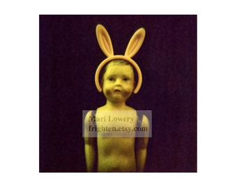 Creepy Cute Plastic Doll with Bunny Ears 5x5 Inch Holga Photography Print, Weird Small Wall Art, Doll Photography, Unusual Wall Decor