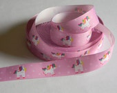 "Unicorn Ribbon Grosgrain 5 yards of 1"" Purple Rainbow Mane Unicorn Print Ribbon For Hair Bows Birthday Party Favor Ties Fairy Tale Magical"