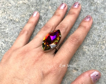 Swarovski Volcano Ring, Rainbow Marquise Ring, Large Swarovski Navette Cocktail Ring Christmas Gift Party Jewelry