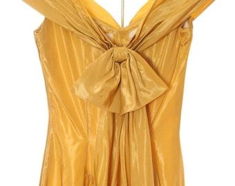 XS Small Vintage 1950's Yellow Dress Taffta 4CC