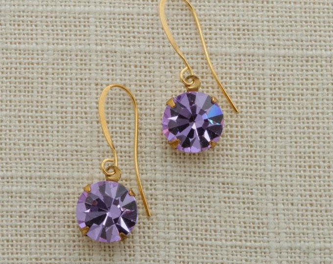 Purple Crystal Earrings Gold French Hook Lavender Rhinestone Dangle Wedding Earrings Bridesmaid Gift Handcrafted in USA 11mm 6H