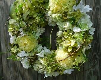 Summer Wreath , Spring Wreath , Wreath For Front Door , Outdoor Wreath , Yellow Wreath , Country Chic Wreath