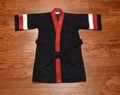 vintage robe 60s 70s boys robe red black white velour robe tie waist 1960 1970 child lounge wear small 8-10