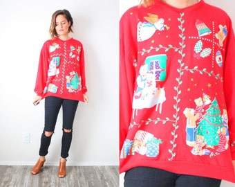 Vintage ugly christmas sweatshirt // red christmas jumper // tacky christmas oversized sweater // Christmas sweatshirt bears angels presents