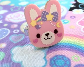 Sweet Bunny Adjustable Ring or Badge