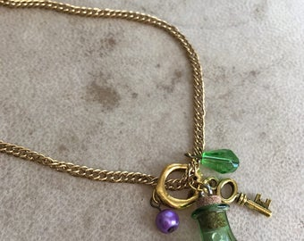 Green Bottle Necklace Crystal Pendant Fantasy Jewelry Long Necklace Cosplay