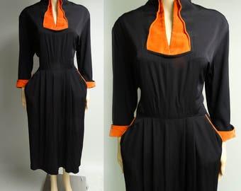 1940s Dress | Black Dress | Vintage 1940s Dress | Orange Velvet Trim | 40s Dress | 1940s Day Dress