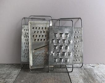 Set of 4 - Vintage Metal Graters / Rustic Kitchen Decor / Vintage Kitchen