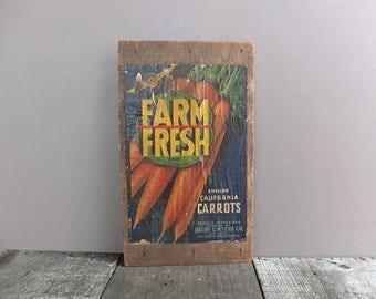 Vintage Carrot Box End Label / Vintage Vegetable Crate / Vintage Vegetable Label