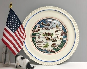 Vintage Ohio State Plate Vintage Travel Souvenir Usa Road Trip Ohio Map And