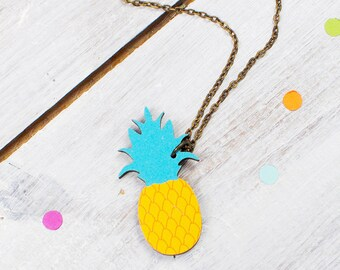 Pineapple Necklace | Tropical Jewellery | Fruit Necklace | Colourful Pineapple | Nickel Free