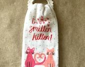 Crochet Towel Holder with towel, Valentine's Day Kitchen Towel/holder, Valentine's Kitchen Towel with holder